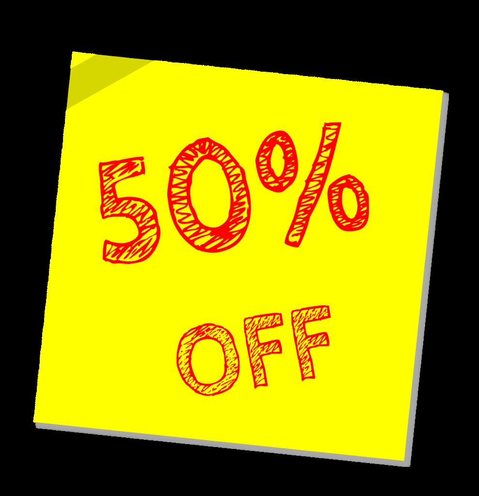 fifty percent off
